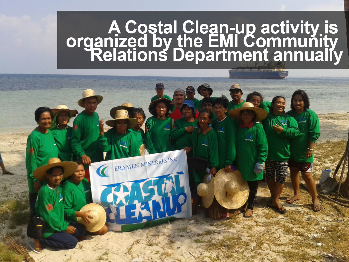 A Costal Clean-up activity is organized by the EMI Community Relations Department annually. EMI employee, scholars, the local government units, non-governmental organizations  and other volunteers participate in this event.